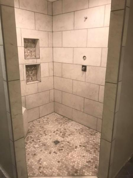 A newly remodeled shower.]